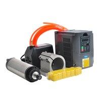 CNC Spindle Motor 1.5KW Water Cooled Spindle Kit 65MM Clamp 110V 220V VFD Inverter 75W Water Pump 13pcs ER11 Collet Chuck