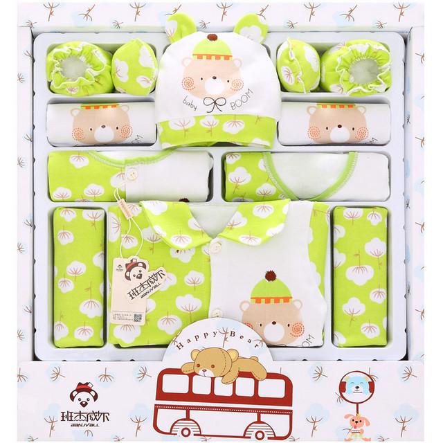 100% Algodón set de Regalo ropa de Bebé Recién Nacido conjunto ropa de bebé ropa de traje de niño de luna llena 16 unidades set verde/azul/rosa