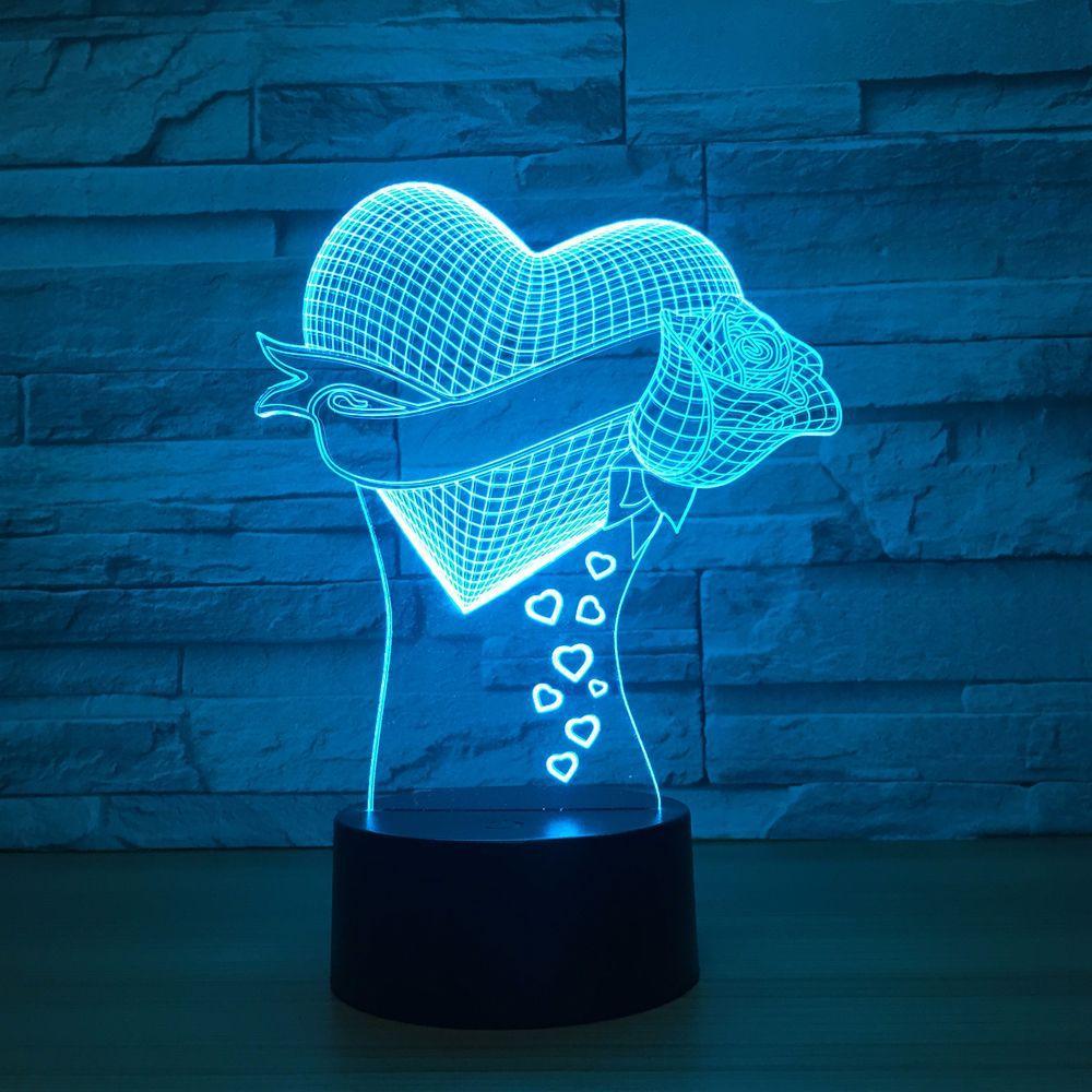Unique Mom's Gifts Romantic love Rose Flower 3D Led Night Light 7 Color Change Novelty Table Lamp Home Decor Bedside LED Lamp lnhf novelty diy led table lamp home romantic pour coffee usb battery night light