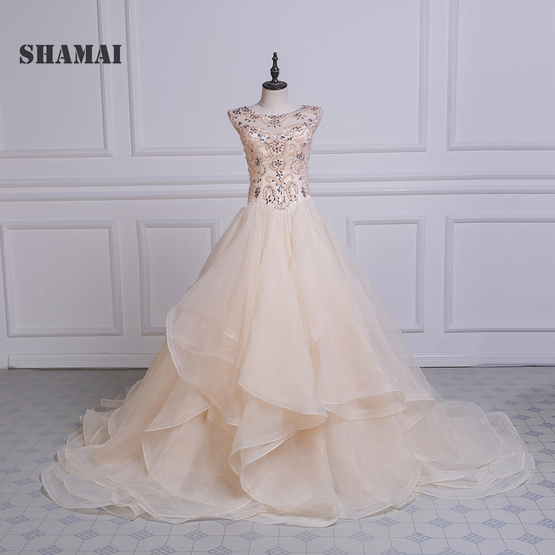 Weddings & Events Shamai Quinceanera Dress Plus Size Sweep Train Luxury Beading Bride Banquet Elegant Beach Prom Dress Vestidos De 15 Anos Relieving Heat And Thirst.
