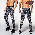 2016 Nuevos Pantalones de Camuflaje Hombres de Compresión Pantalón Elástico Telas de Elevación Piel Culturismo Medias Pantalones de la Marca de Ropa