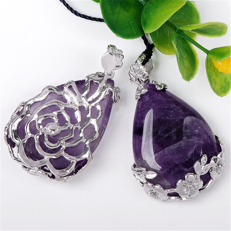 1pc Natural Amethyst Inlaid Teardrop Pendant Reiki Chakra Bead For Necklace Gift Women