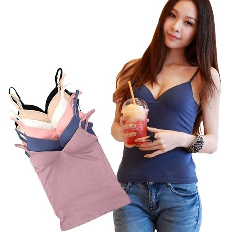 6db21a6069932 Fashion Modal Adjustable Sexy Strap Vest Built In Bra Padded Self Mold Bra  Solid Color Simple