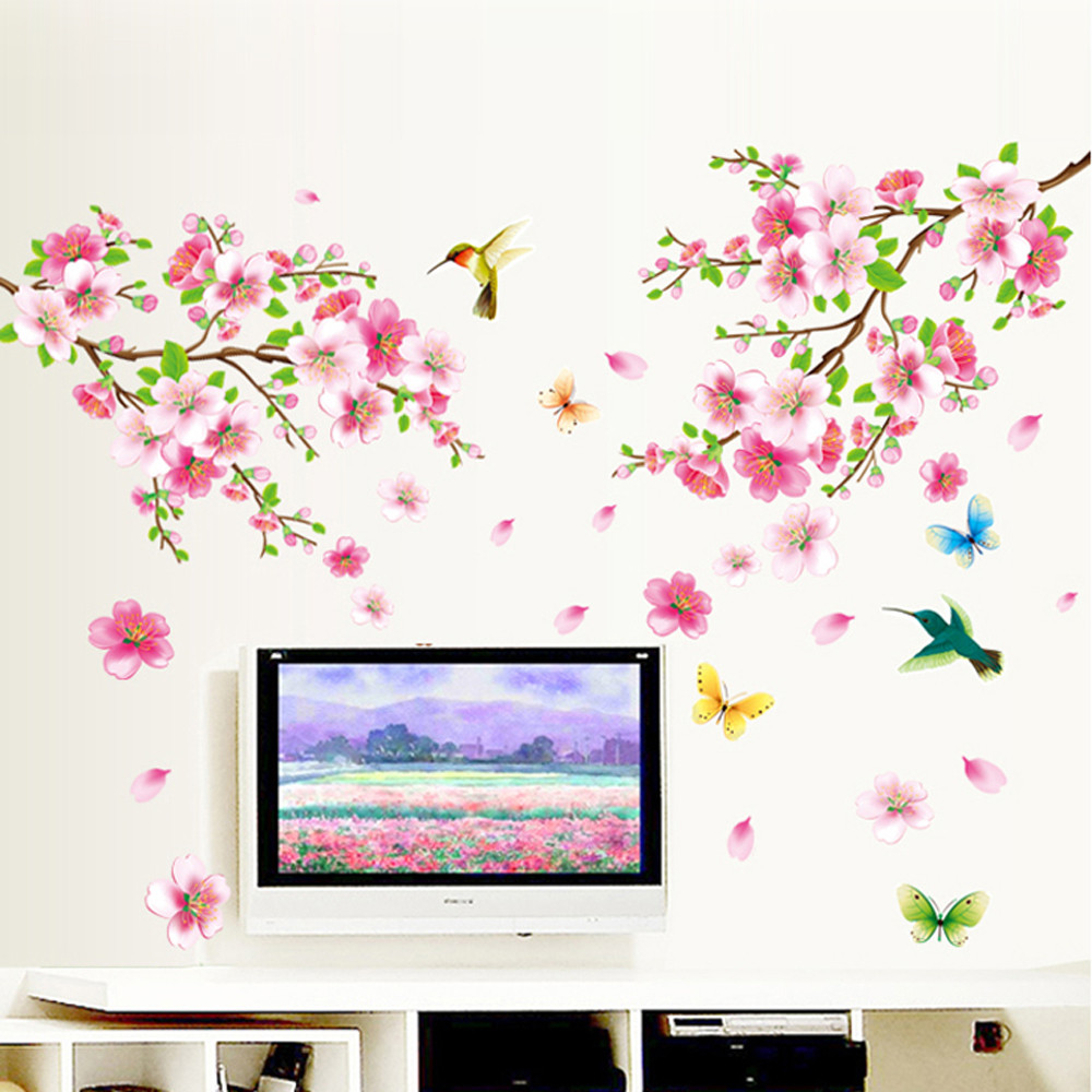 popular cherry blossom vinyl buy cheap cherry blossom vinyl lots diy large cherry blossom flower butterfly tree vinyl wall stickers mural art decal home decor living