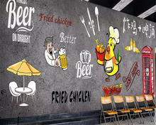 Beibehang Custom wallpaper hand-painted fried chicken beer Korean barbecue background decorative wall 3d