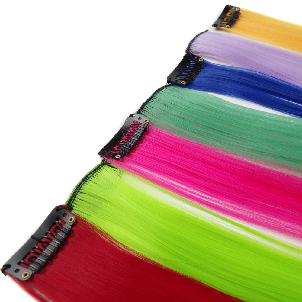 Sallyhair Clip Hair 20inch One Piece Hairpiece Color Synthetic Long Straight Hair Extensions Pink Yellow Blue Purple For Women