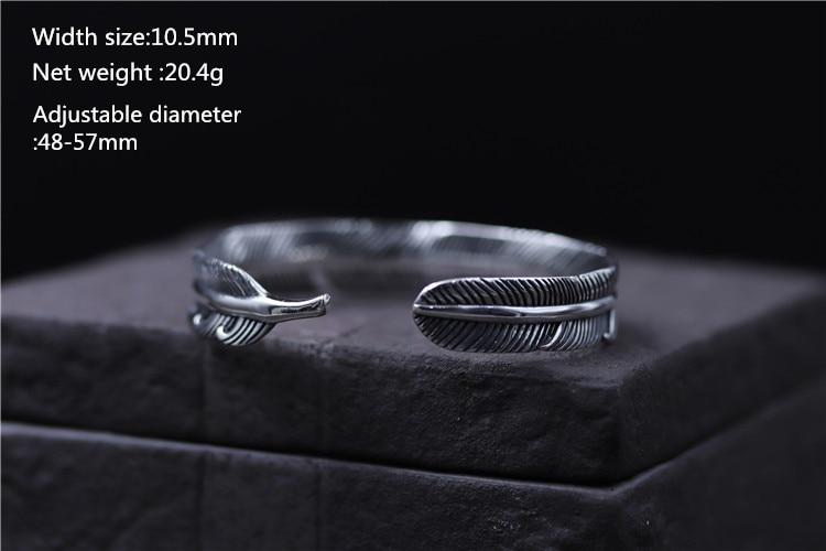 100 925 Sterling Silver Women Bracelet 10 5mm Width Feather Unique Bracelet Bangles for Women Men