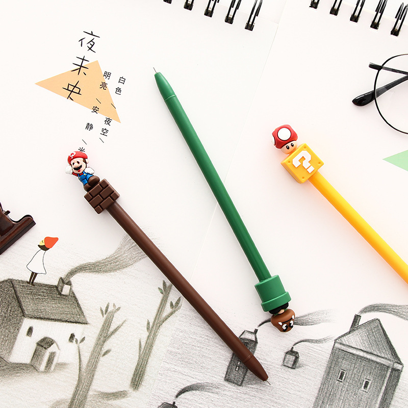 1PCS New Cute Super Marie Gel Pen Student Stationery Novelty Gift School Material Office Supplies