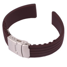 Hot! Brown Silicone Rubber Watch Band Strap Implantação Buckle À Prova D' Água 16mm 18mm 20mm 22mm 24mm