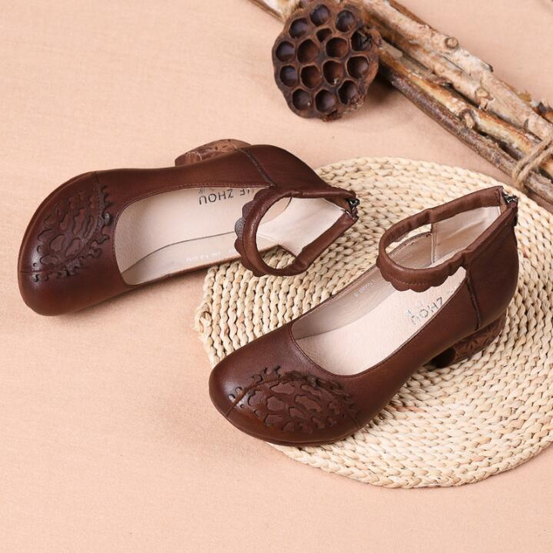 RUSHIMAN Vintage Flat Shoes Women 2019 Genuine Leather Thick heel Single Shoes comfortable Casual Spring Pregnant
