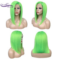 Dream Beauty Green Human Hair Wig Brazilian Remy Hair Lace Front Human Hair Wigs With Baby Hair Glueless Short Bob Wigs