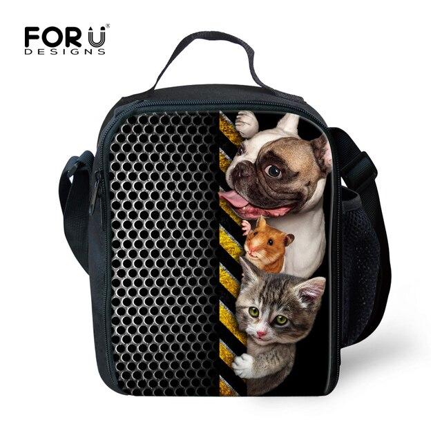 Cute 3D Animal Dog Print Kids Lunch Box insulated Children Thermal Lunch Bag Keep Warm Men Women Food Storage Bag bolsa termica
