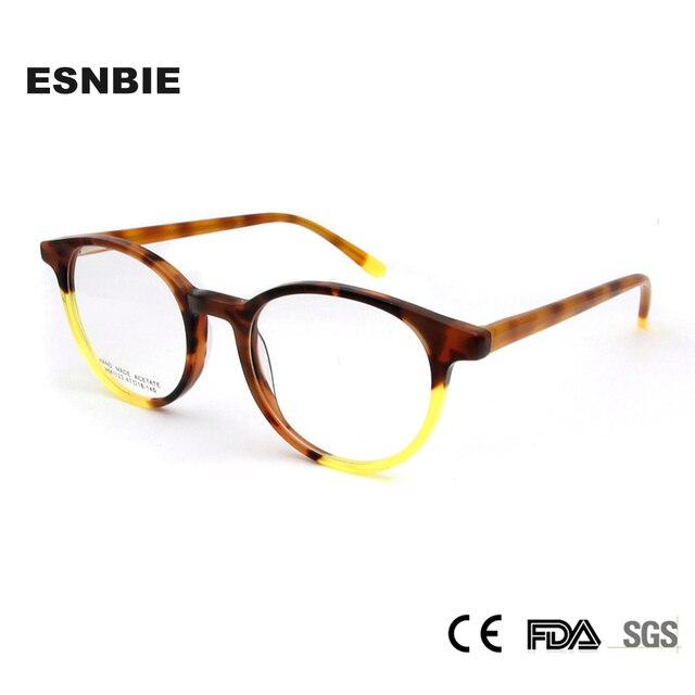 ESNBIE Acetate Vintage Women Eyeglasses Frame Round Men Spectacle ...