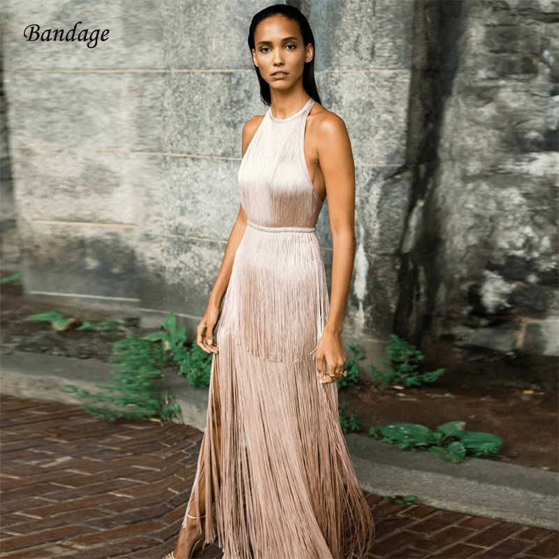 Celebrity Party Long Women Bandage Dress With Fringe Sexy Summer Tassel  Dresses 2019 New Halter Bodycon 606f50ff063b