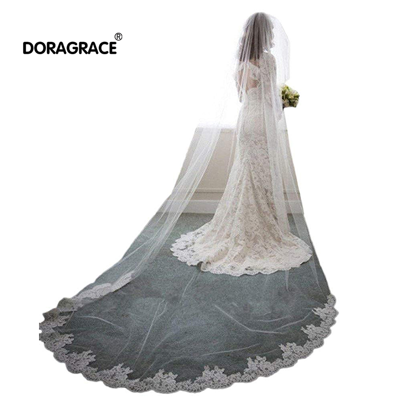 Doragrace 3M White/Ivory Romantic Cathedral Length Lace Edge Wedding Bridal Veil With Comb Accessories