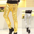 New fashion show thin men's trousers Artificial leather and spandex fabric 2 color gold and silver male pants Straight pants