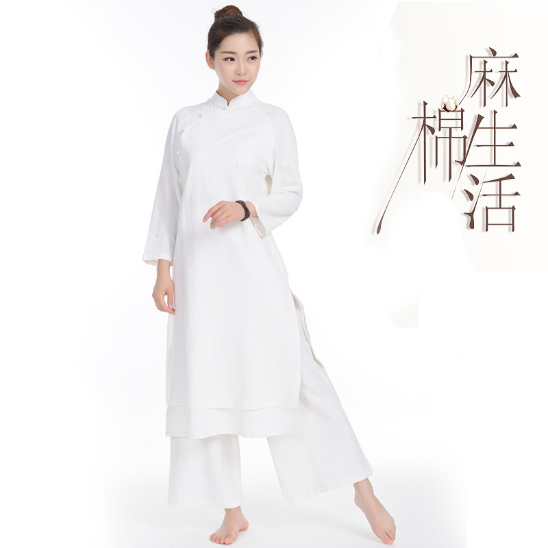 Strong Hui 6028 Cotton And Linen Suit Dress Linen Suit Yoga Meditation 2019 New Outfit Wide-legged Pants Big Yards