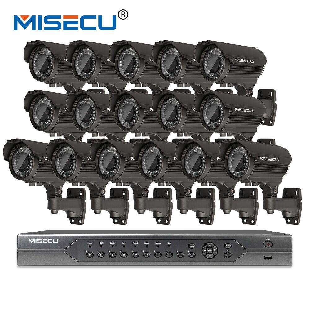Misecu H.265 16CH PoE Комплект 1080 P видеорегистратор реального POE 48 В 2MP 16 шт. POE 2.8-12 мм зум Камера модуль ночь Водонепроницаемый P2P IP системы видеонаблю...