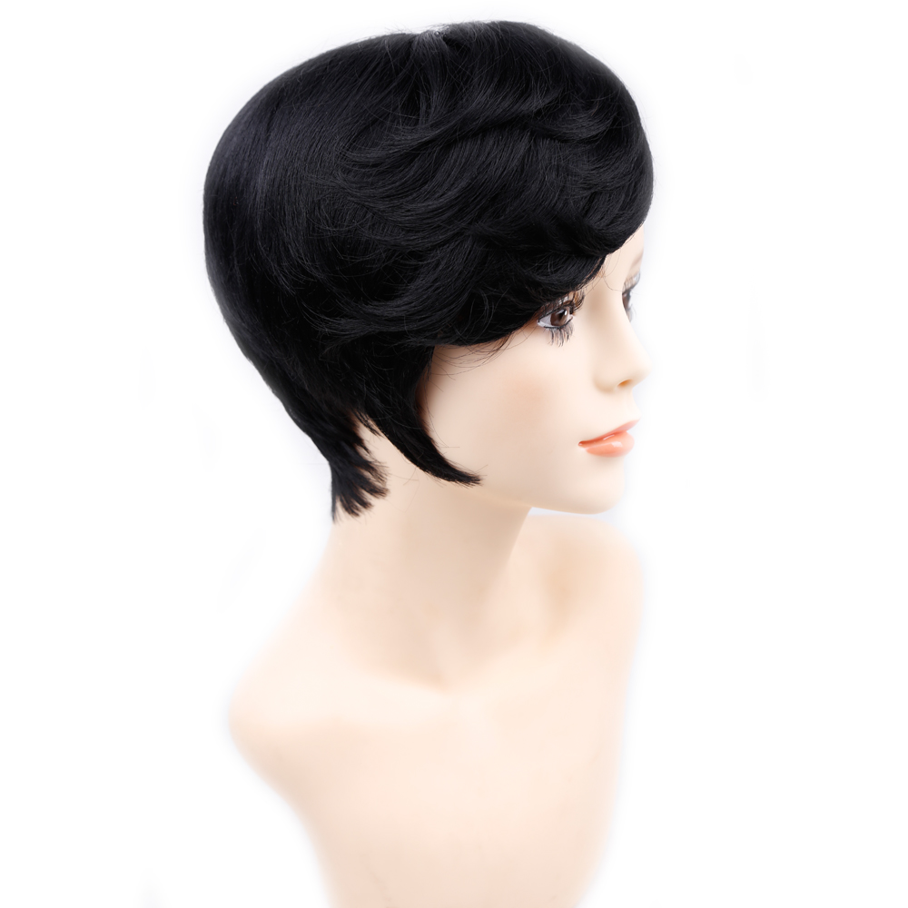 Amir Short Hair Wig Side Bang Full Synthetic Wigs Black Brown Curly Wig Heat Resistant Short Wigs For Women