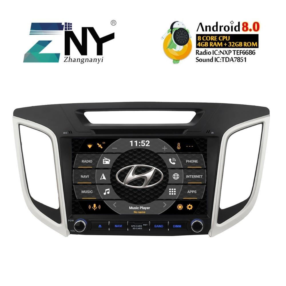 4 gb RAM 9 Android 8.0 DVD De Voiture Pour Hyundai Creta IX25 2014 2015 2016 2017 2018 Auto Radio stéréo WiFi GPS Navigation Sauvegarde Cam