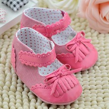 3 Colors Newest Infant Toddler Flower Bowknot Tassel PU Crib Shoes Soft Sole Kid Girls Baby First Walker Shoes 0-18m