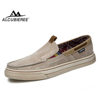 ALCUBIEREE Lightweight Slip On Canvas Shoes Casual Cloth Loafers Breathable Boat Shoes Men Comfort Moccasins Walking Sneakers