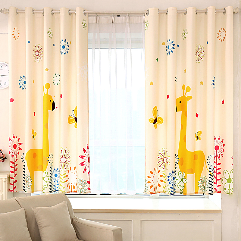 Aliexpress Buy Cartoon Giraffe Kids Window Curtains