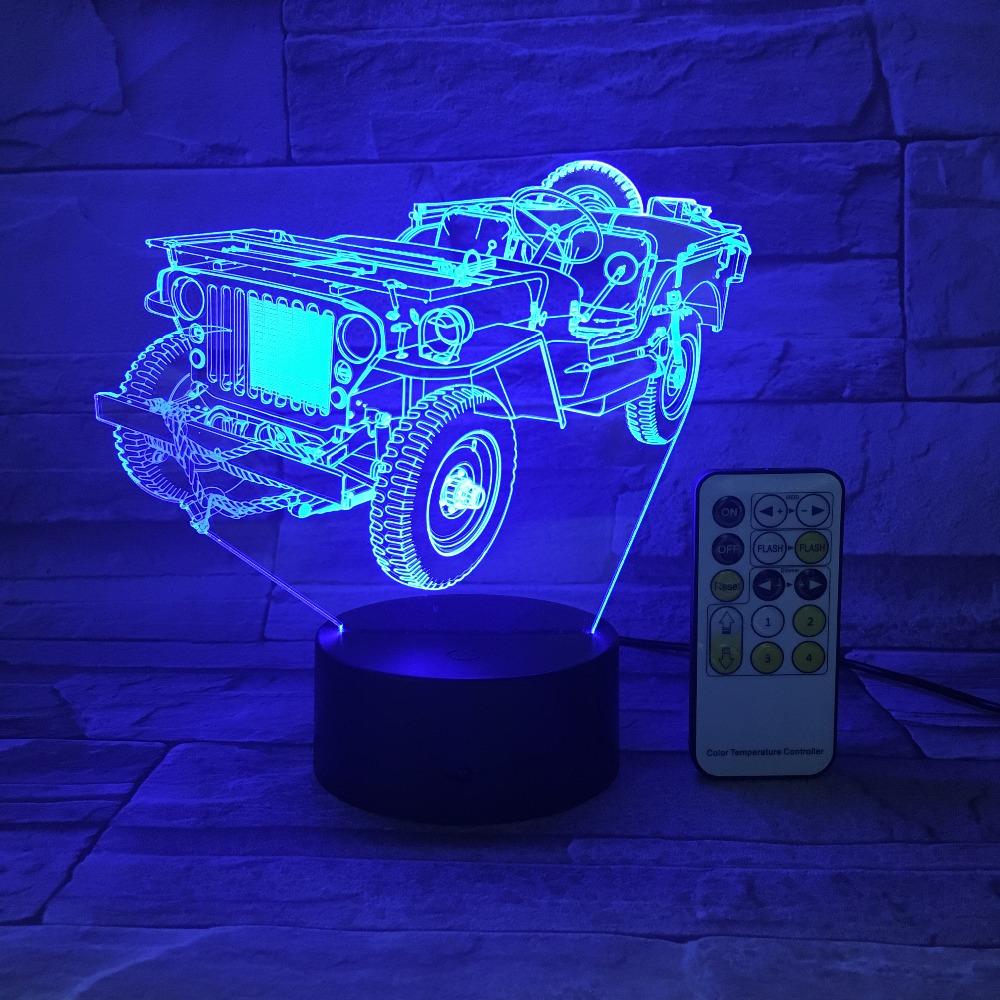 Jeep Truck Car Night Light 3D USB Touch Remote Control Acrylic Panel Engrave 7 Colors Change Atmosphere Table Lamp Kids Gifts