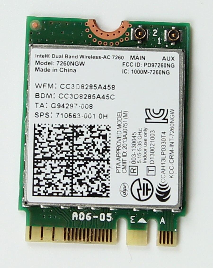 Bluetooth-4.0 Wireless-Card Ac 7260 Network-Card Wifi 802.11ac Dual-Band 867-Mbps 2x2