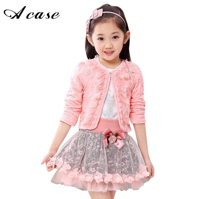 2018 Fashion Children Clothes Kids Flower Outfits Sets Little Girls 3 Piece Princess Lace Ruffle Cardigan Tops Tutu Skirts Suits