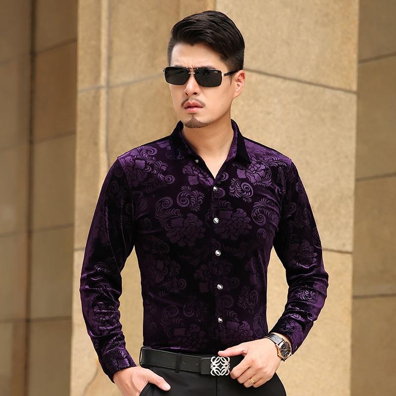 2016 ISMEN Mens Dress Shirt Long Sleeve Cotton Male Business Casual Printed Fashion Formal ...