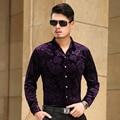 2016 ISMEN Mens vestido Camisa manga comprida de algodão masculino Business Casual impresso moda formais camisas Slim Masculina Camisa