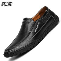 New High Quality Genuine Leather Men Casual Shoes breathable soft Moccasins Fashion Driving Slip On Loafers Men Flat Shoes 38 47