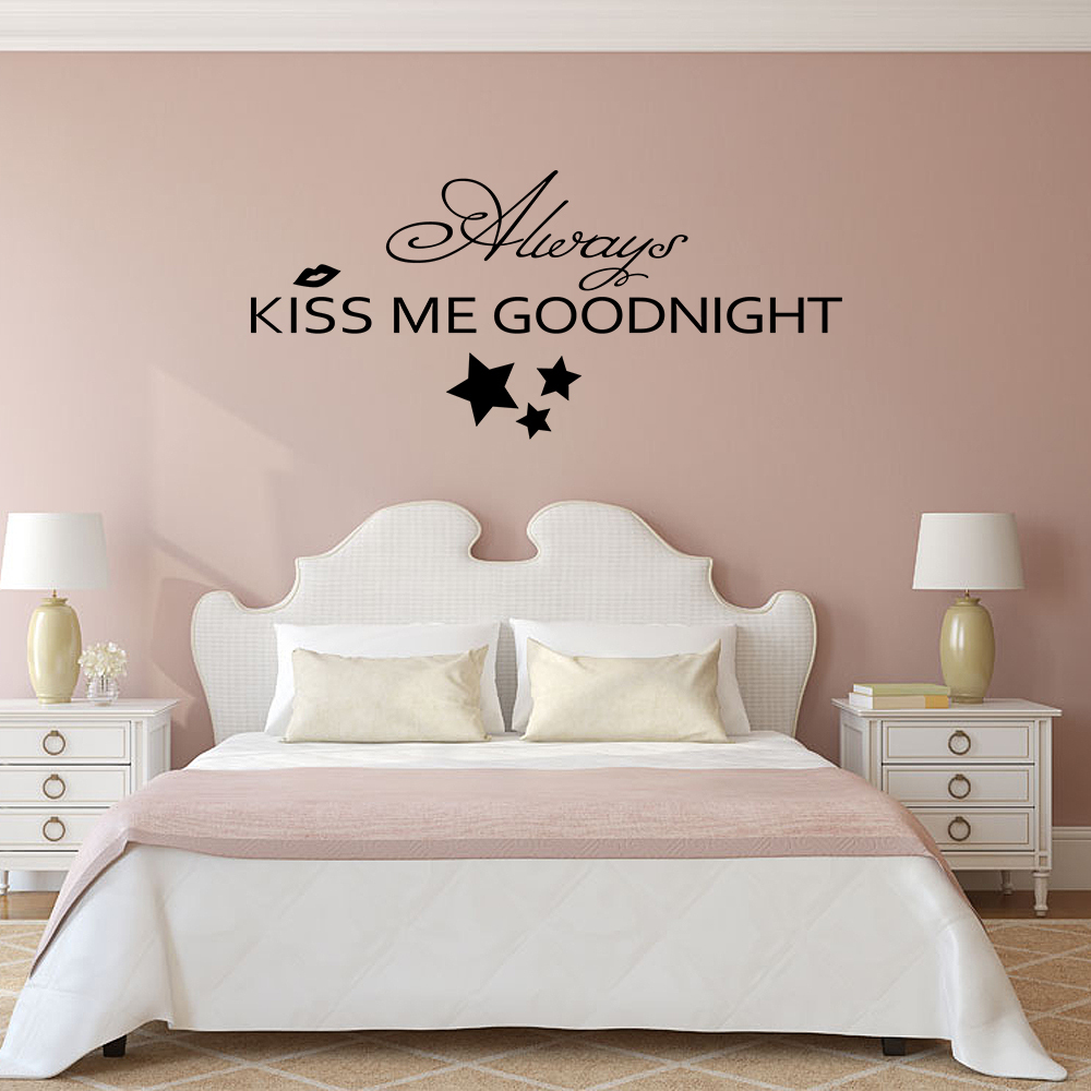 Always Kiss Me Goodnight - Bedroom Romantic Wall Decal Vinyl Art Wall Sticker Love Quote Home decor 10 x22 ...