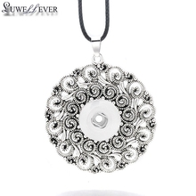 Fashion Interchangeable Round Flower Ginger Necklace 042 Fit 18mm Snap Button Pendant Charm Jewelry For Women Gift