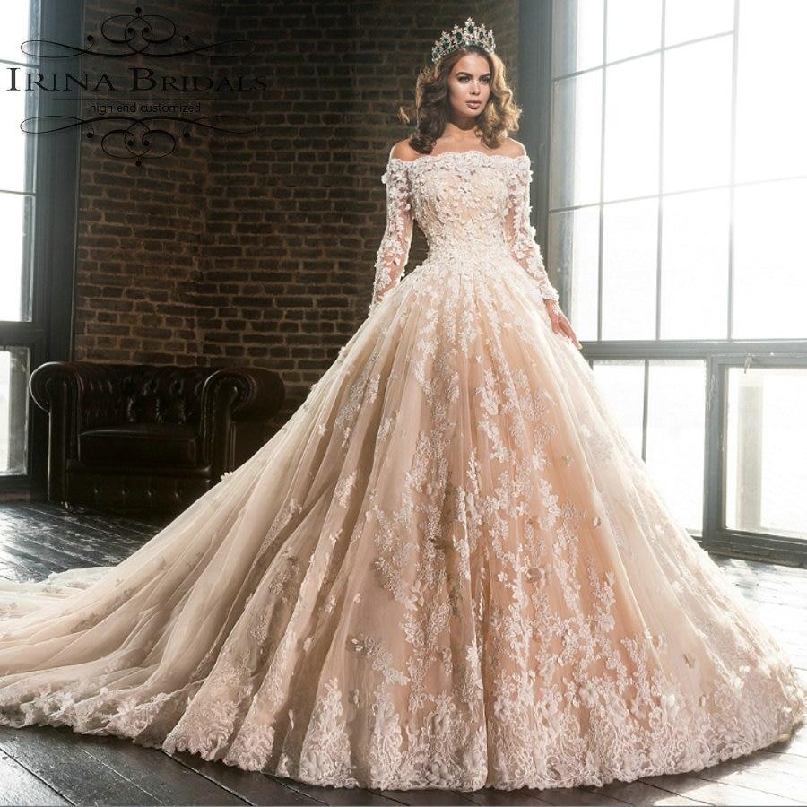 long sleeve champagne wedding dress champaign wedding dress Ivory Lace Tulle Long Sleeves Keyhole Back Champagne Lining Wedding Dress