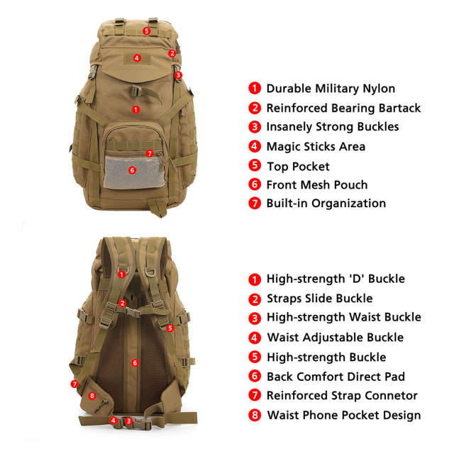 US $69 99 |Outdoor Backpack 60L Waterproof Daypack Tactical Military  Rucksacks for Cycling Camping Travelling Hunting Fishing Bag Tackle-in  Fishing