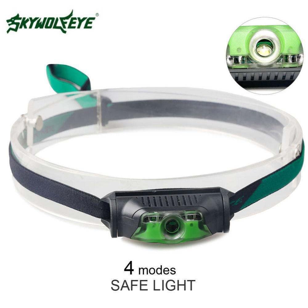 SKYWOLFEYE Cycling Headlamp Waterproof 4 Modes Head Lamp 3500LM Headlight Aa/14500 Battery For Fishing Outdoor
