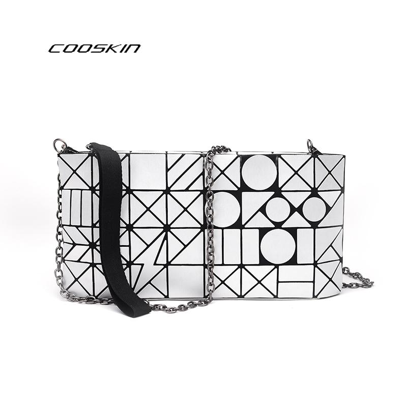 cooskin mujeres luminoso lentejuelas espejo geometra bao bao baobao enrejado de diamante bolsa de dama