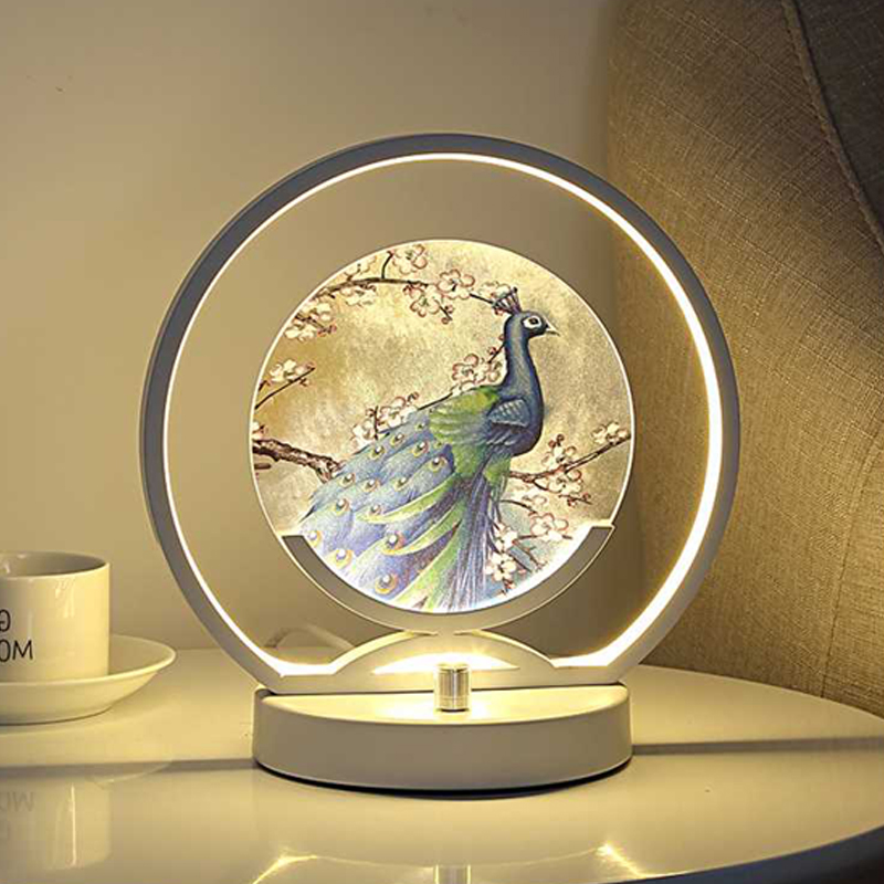 Manual Dimmable Chinese bedside table lamp LED bedroom warm creative romantic home decor desk