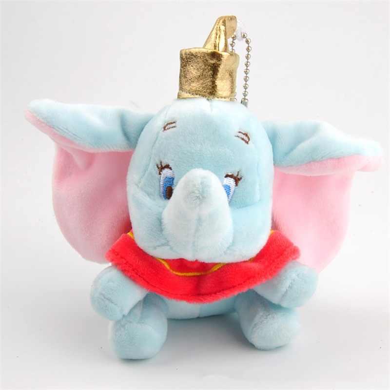 10 cm סופר חמוד דמבו ממולא בעלי חיים בפלאש צעצוע קטן תליון יפה מיני קריקטורה פיל בובת מציג לילדים מפתח שרשרת