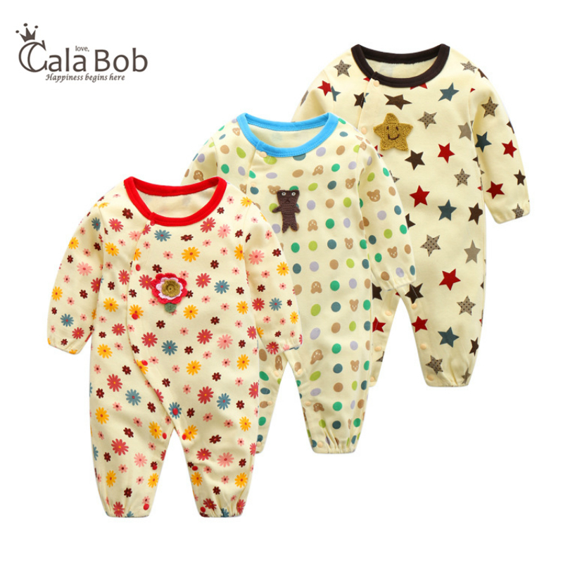 CalaBob Baby Rompers Winter Newborn Clothes Long Sleeve Cotton Jumpsuits Overalls Cartoon Printed Baby Boy Girl Clothing 0-12M 2pcs lot 2017 winter baby rompers newborn infant cotton long sleeve jumpsuits baby boys girl clothing cartoon clothes wear