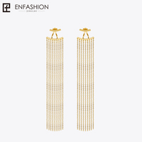 Enfashion Long Tassels Dangle Earrings Gold Plated Earings Drop Earrings For Women Long Earring Fashion Jewelry