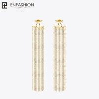 Enfashion Long Tassels Dangle Earrings Gold Plated Earings Drop Earrings For Women Long Earring Fashion Jewelry