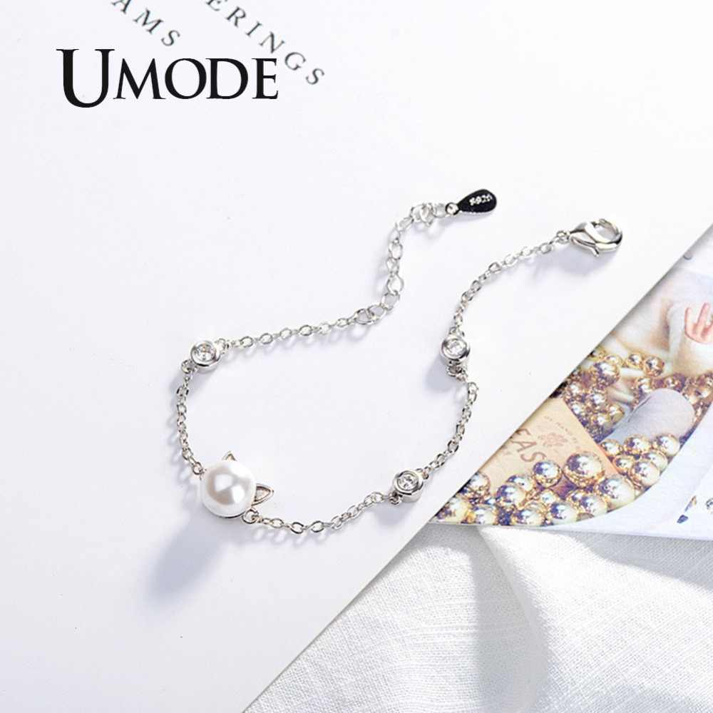 UMODE Cute White Pearl Cat Ear White Gold Jewelry Set for Women Open Cuff Ring and Bracelet Set Link Chain Pearl Jewelry AUS0051