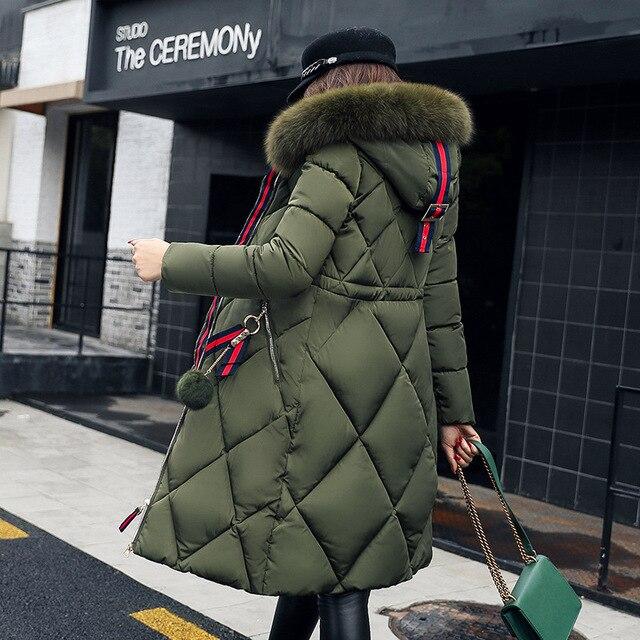 ZYSK 2018 New Women Winter Long Duck Down jacket Female Parkas Thick Warm Clothes Fur Collar Slim Army Green Plus Size M-3XL