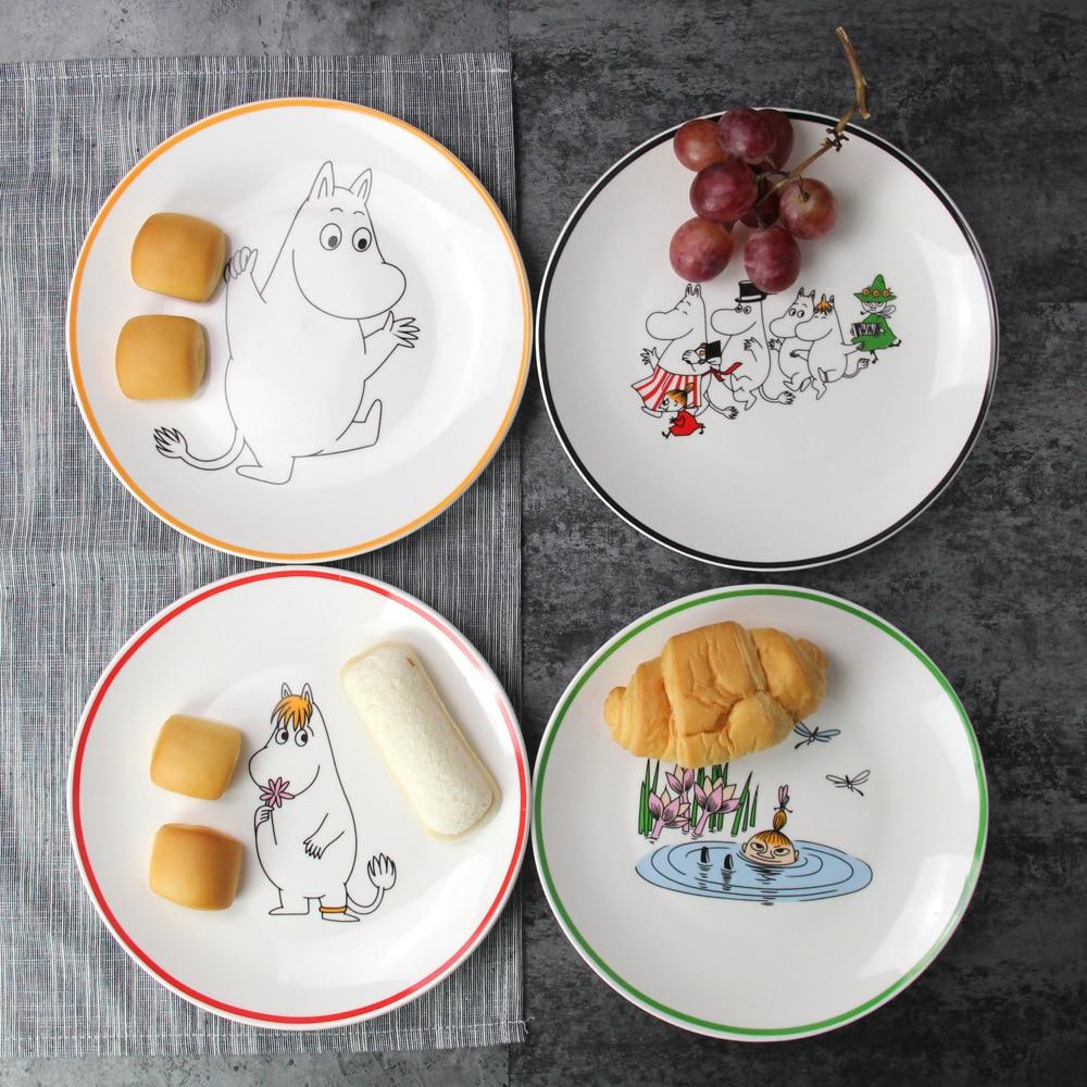 Mumin 4Pcs lot 8 Inches Cartoon Muumi Ceramics Dish Restaurant Household Western style Food Cake Dinner