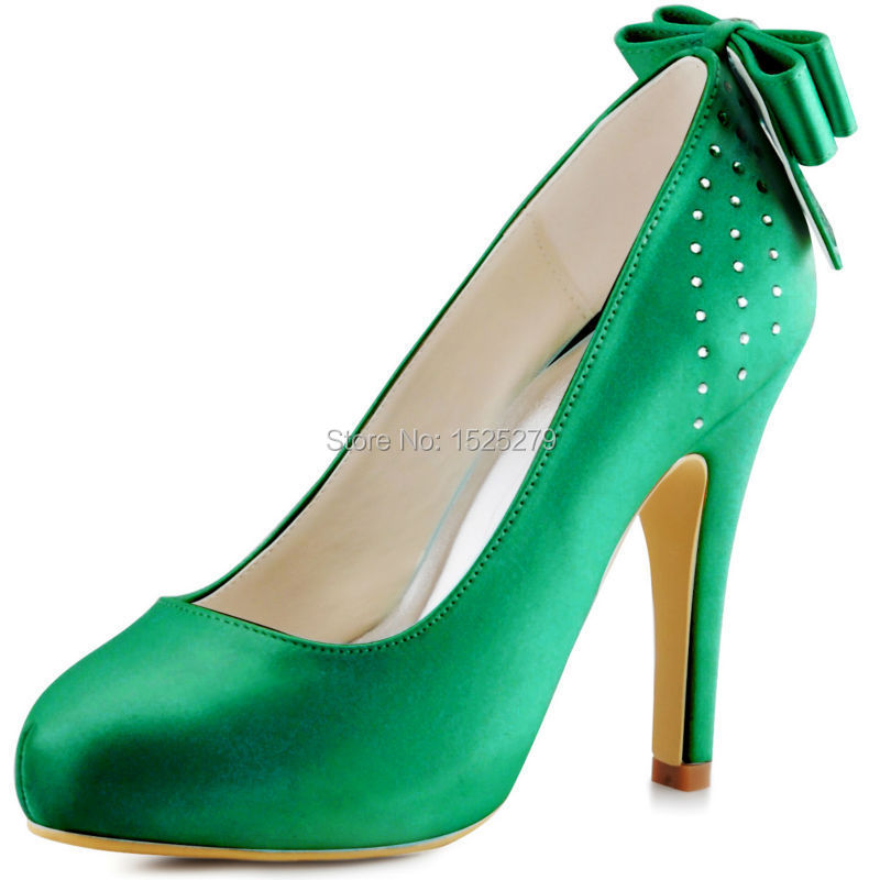 ФОТО EP11034-IP Green Mint Women Shoes Bride Bridesmaids Party Pumps High Heel Platform Bow Rhinestones Satin Bridal Wedding Shoes