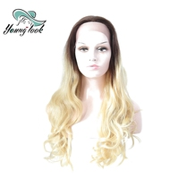 Young Look Ombre Blonde Brown Lace Front Human Hair Wigs Free Parting Loose Wave 24'' Long Brazilian Remy Human Wigs For Women
