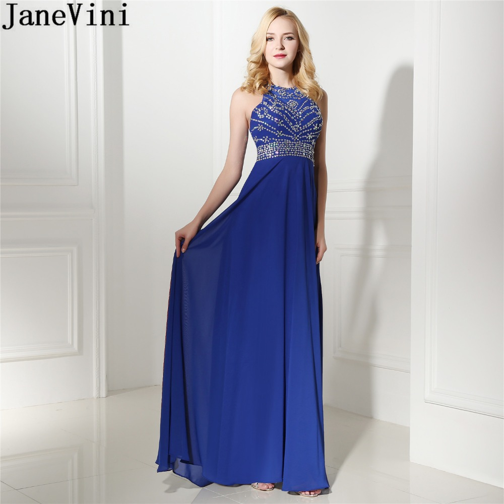 JaneVini 2018 Royal Blue Bridesmaid Dresses Long Girls A-line Shiny Beaded Sequins Chiffon Formal Wedding Party Gowns Prom Dress